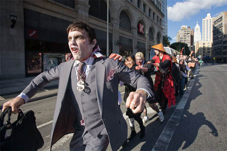 Zombies take over Wall Street - image from the Huffington Post