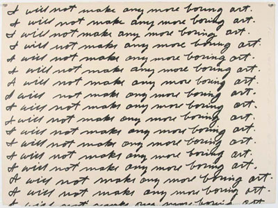 "John Baldessari, ""I Will Not Make Any More Boring Art"", 1971, Lithograph on paper (57.0 x 76.2 cm). Anna Leonowens Gallery Archives: Lithography Workshop Collection"