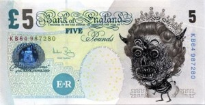 One of Jake and Dinos Chapman's 2004 £5 notes