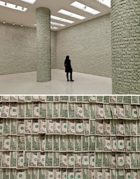 In 2011, Hans-Peter Feldmann papered the walls of the Guggenheim Museum in New York with his $100,000 from his Huge Boss Prize