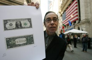 Laura Gilbert with her Zero Dollar Bill on Wall Street, 2008