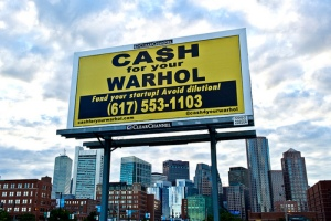 "One of Hargo and Posterboy's ""Ca$h for your Wahol"" poster and billboard series in New York"