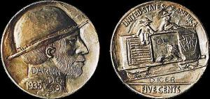 "one of the most sought-after Hobo Nickels, carved by the renown George Washington ""Bo"" Hughes"