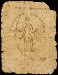 American Revolutionary war currency printed by Paul Revere