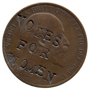 A coin altered by agitators for Women's suffrage in the UK
