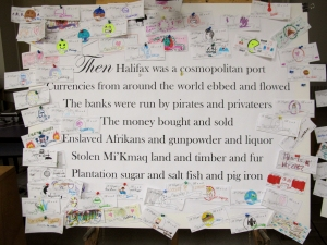 A People's Bank, 2013 installation view.  Visitors were encouraged to design their own utopian currencies and post them.