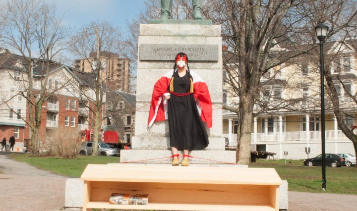 "Image of Raven Davis's performance of ""The Decelebration of Canada 150,"" 5 May 2017. Image courtesy of the artist."